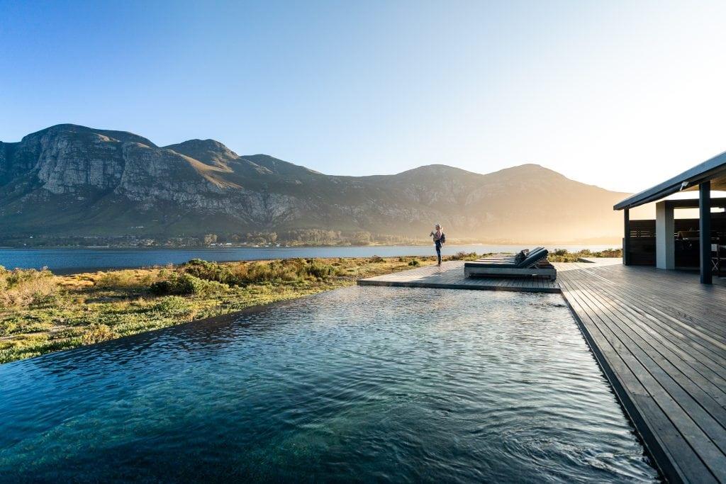 Gorgeous pool area with a mountain view at Perivoli Lagoon House